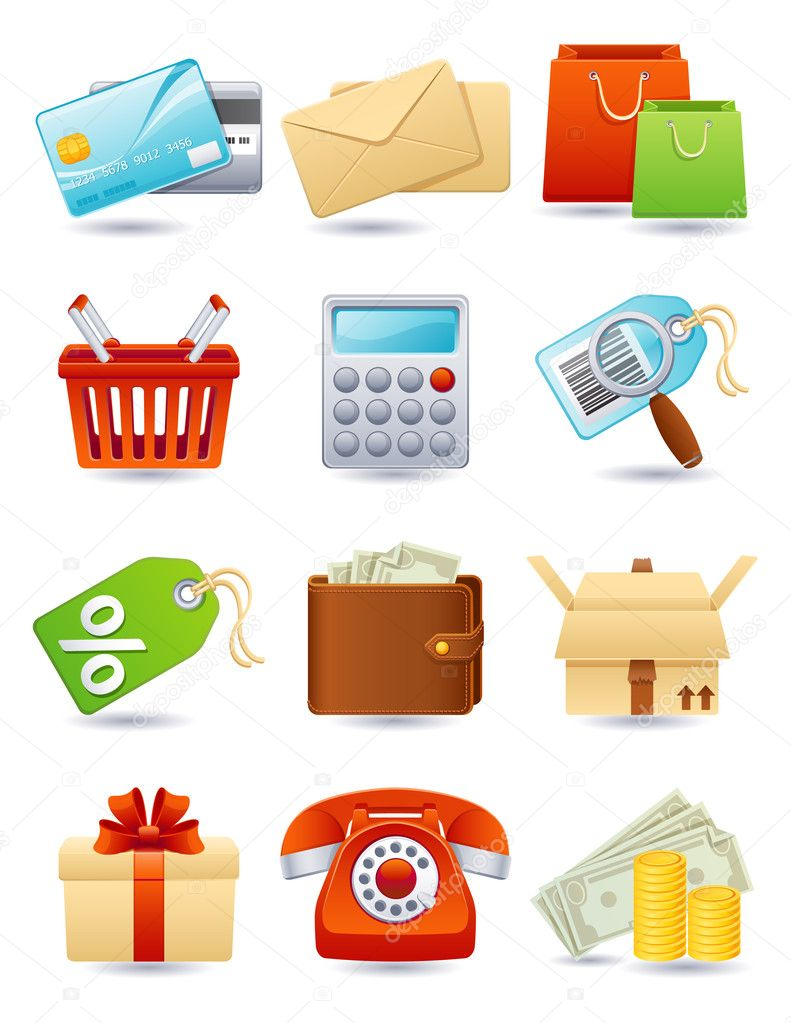 Vector illustration - shopping icon set — Vettoriali Stock  #2013639