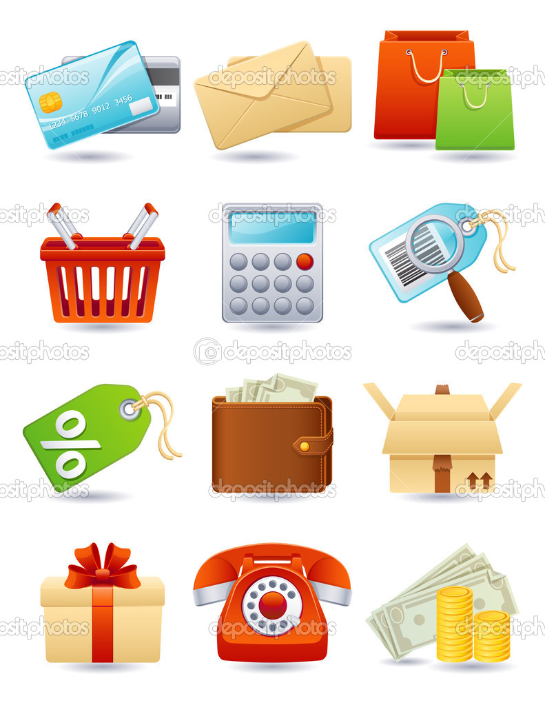 Vector illustration - shopping icon set — Stock Vector #2013639