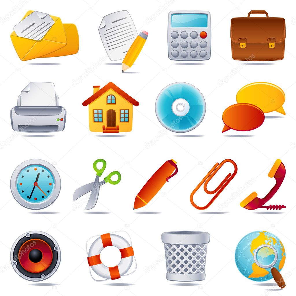 Vector illustration - office icon set — Stock Vector #2013722
