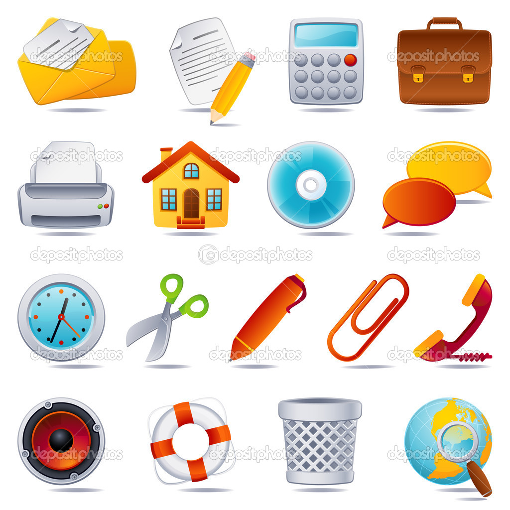 Vector illustration - office icon set — Imagen vectorial #2013722