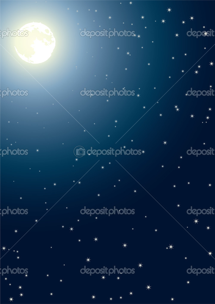 The full moon in the night star sky — Stock Vector #2013944