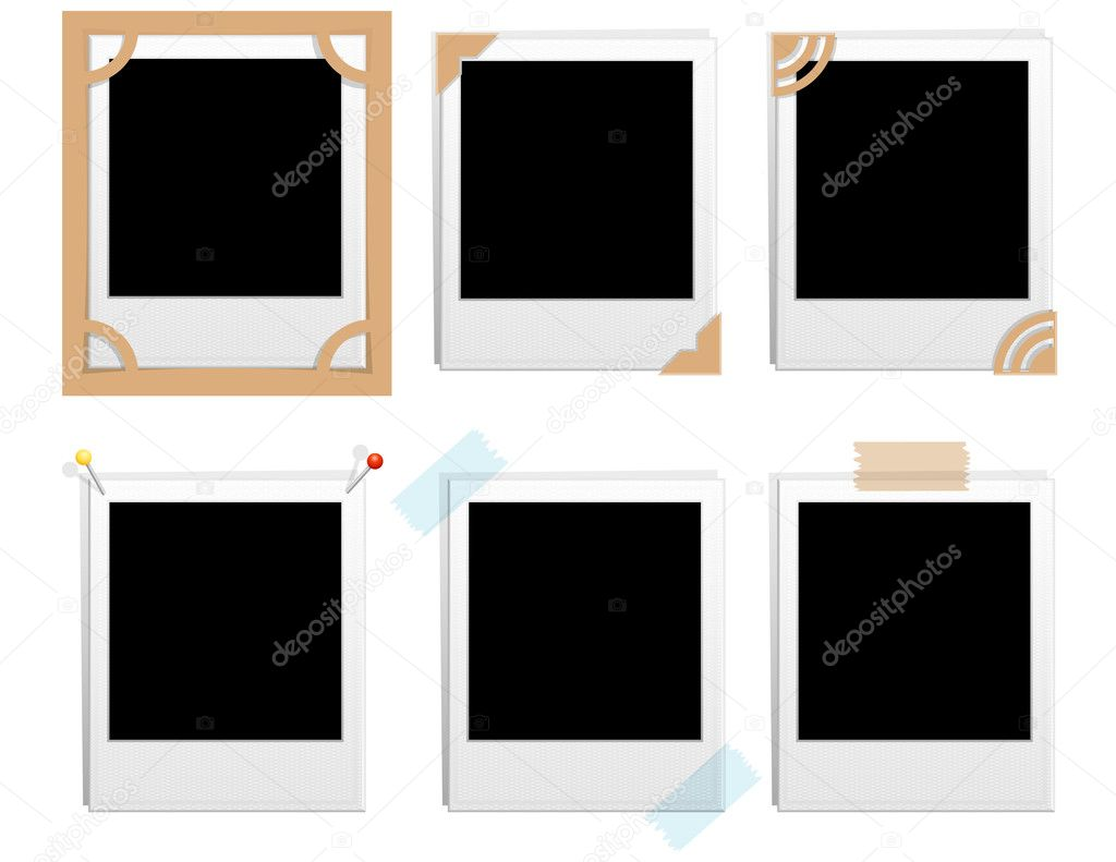 Vector illustration -set of six blank polaroid frames — Stock Vector #2014173