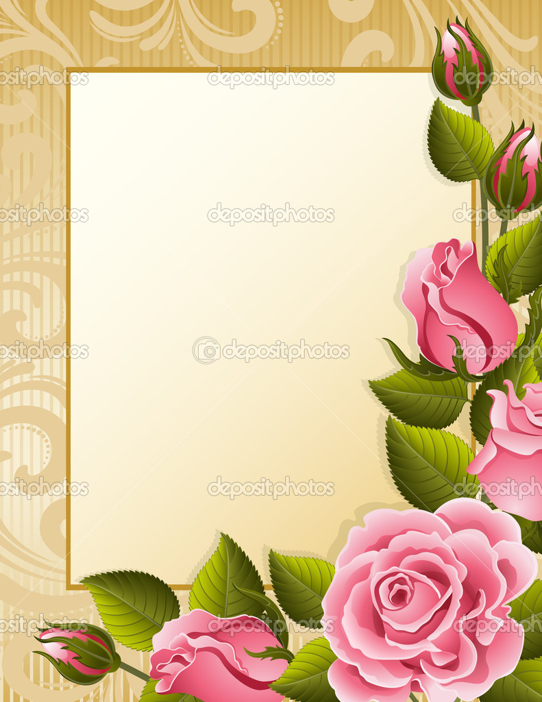 Vector illustration - pink roses and paper — Stock Vector #2014226