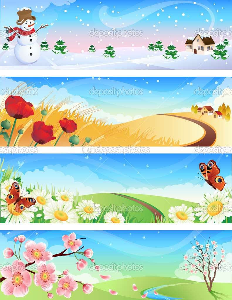 Vector illustration - four seasons landscapes — ベクター素材ストック #2014433