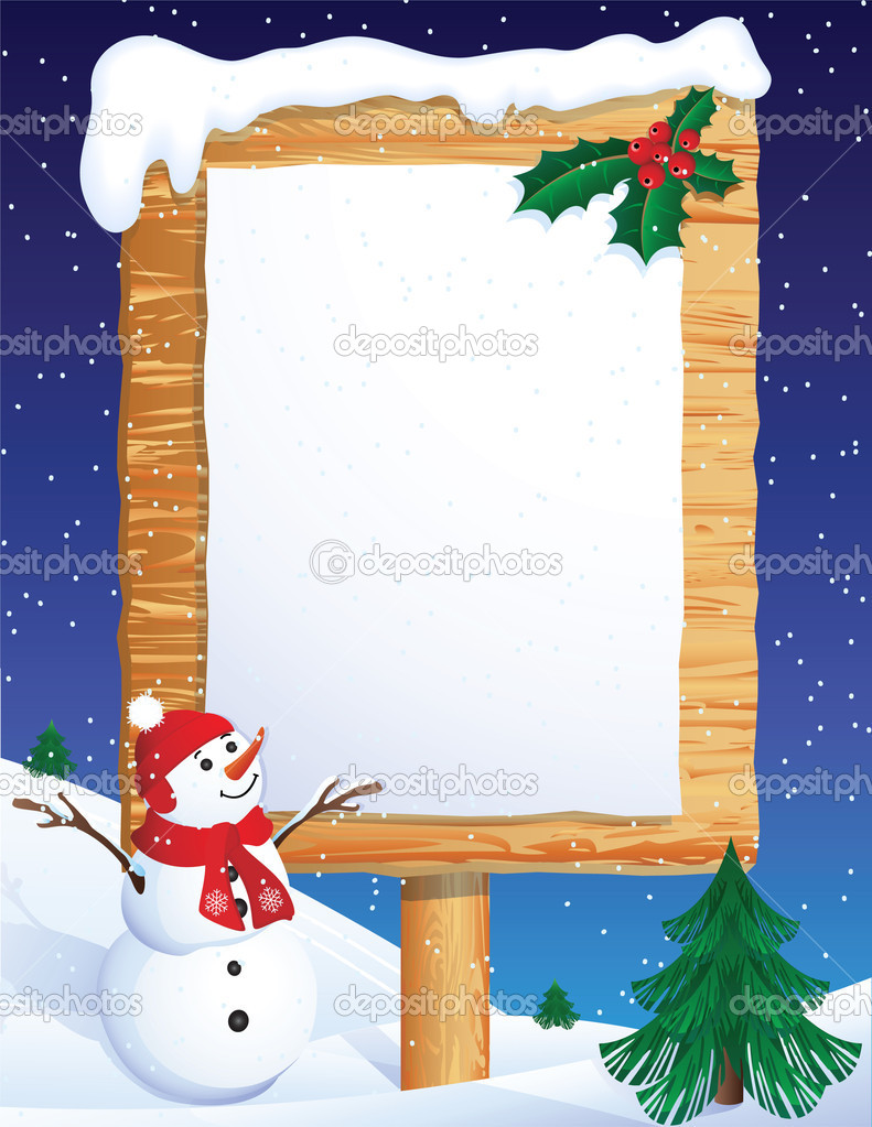 Vector illustration - snowman whis winter background — Stock Vector #2014448
