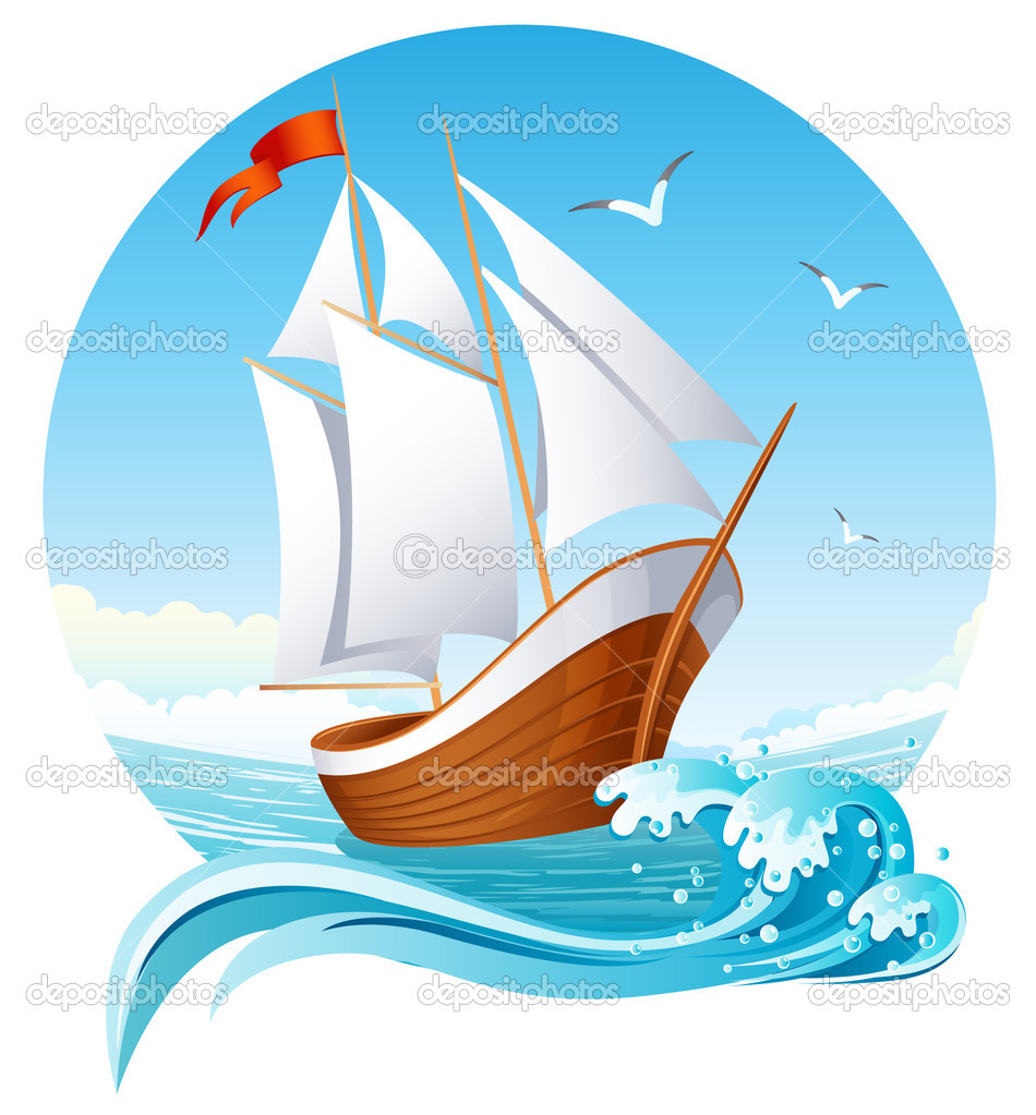 Vector illustration - sailing ship emblem — Stock Vector #2014743