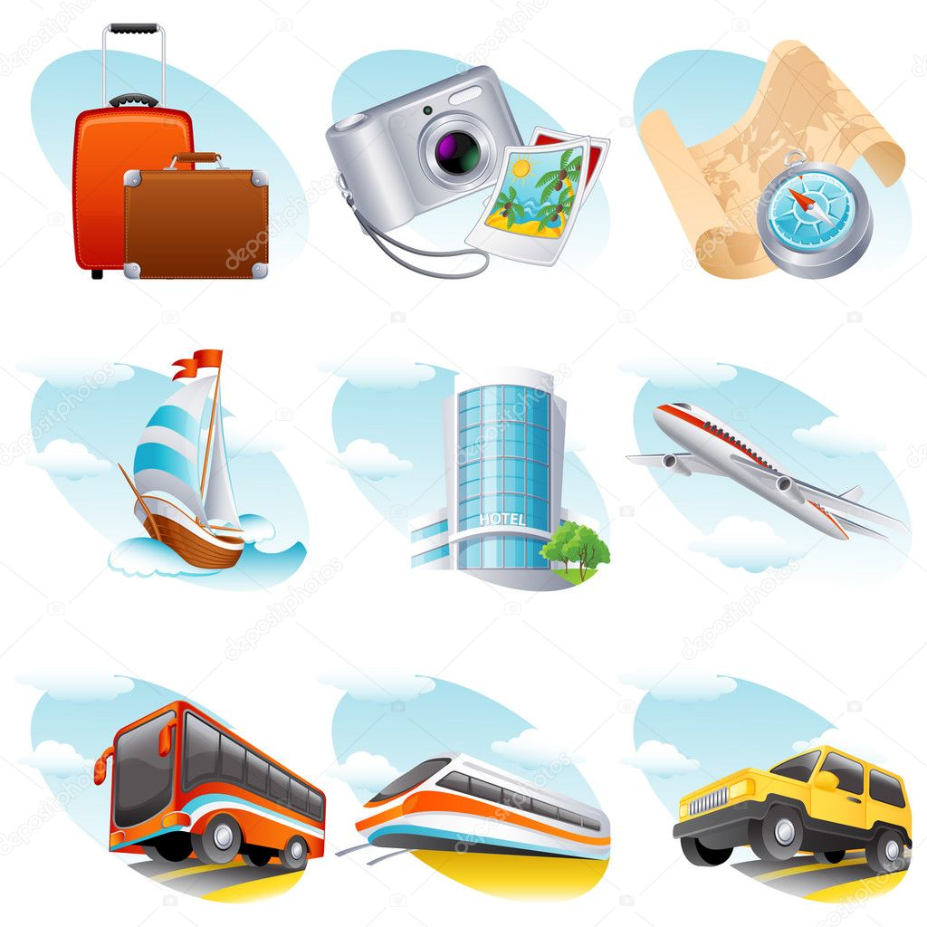 Vector illustration - travel icon set — Stock Vector #2014870
