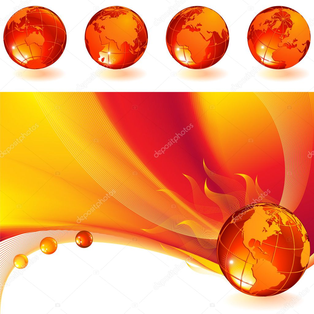 Vector illustration - burning globe on a red abstract background — Stock Vector #2015185