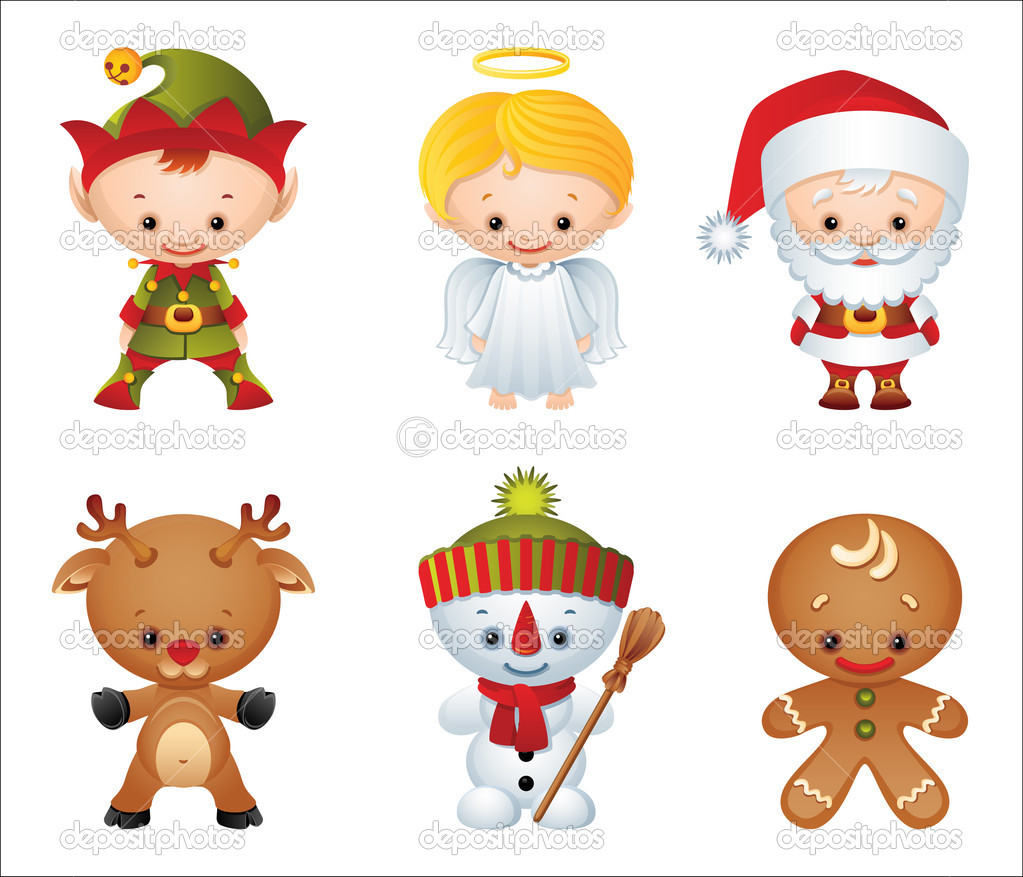 Vector illustration - Christmas characters icon set — Stock Vector #2015336