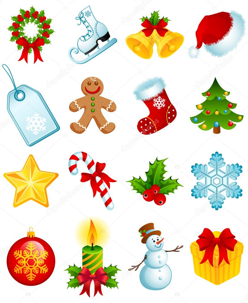 Vector illustration - set of christmas icons — Stock Vector #2015427