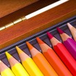 Colored pencils in a box — Stock Photo