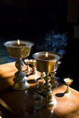 Burning oil lamps — Foto Stock