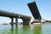 Opened bridge for pass of ships — Stock Photo