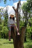 Dzieci siedzą na drzewo — Zdjęcie stockowe