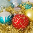 Christmas decorated color balls — Stock Photo