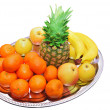Composition with fresh fruits on silver - Stock Photo