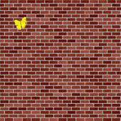 Brick wall with yellow butterfly texture — Stock Photo