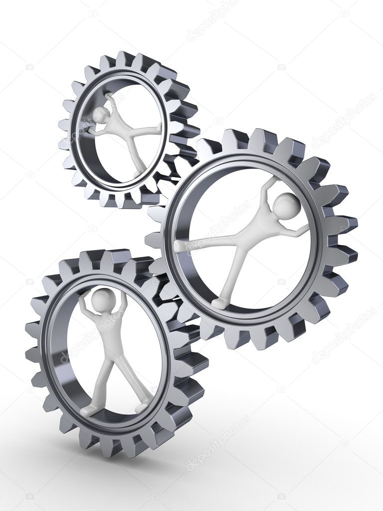 Team power (three men posing inside gears)  Stock Photo #1872995
