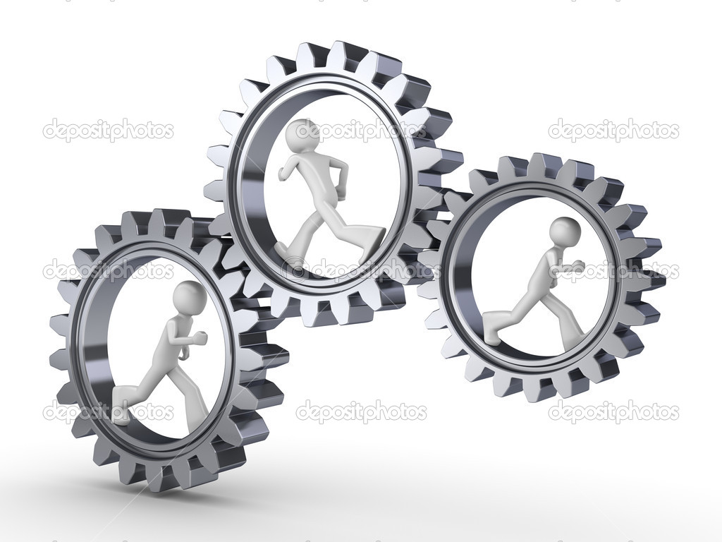 Team power (three men walking inside gears) — Foto Stock #1873096