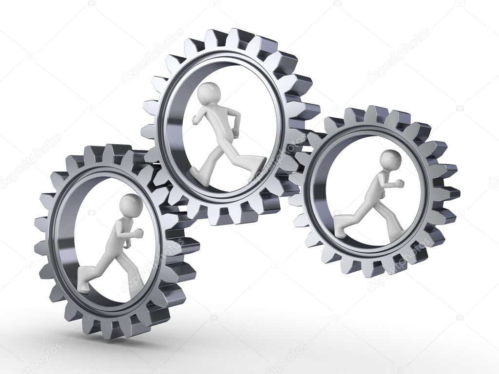Team power (three men walking inside gears) — Stock Photo #1873096
