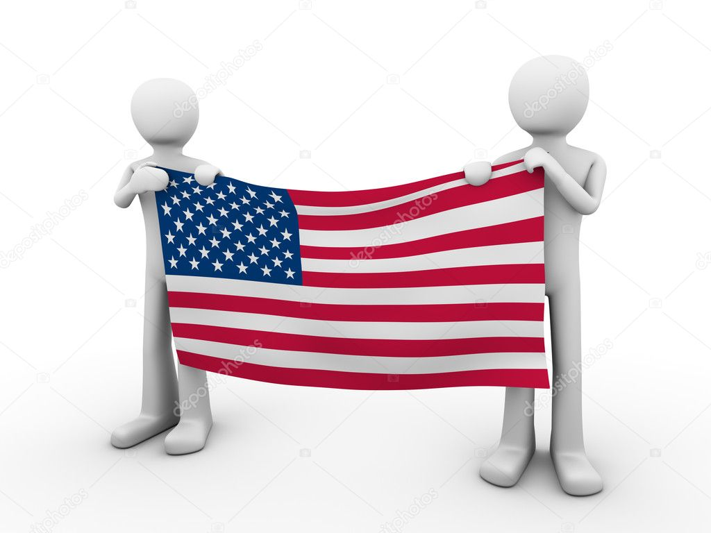 Fourth of July: holding US flag  Stock Photo #1873927