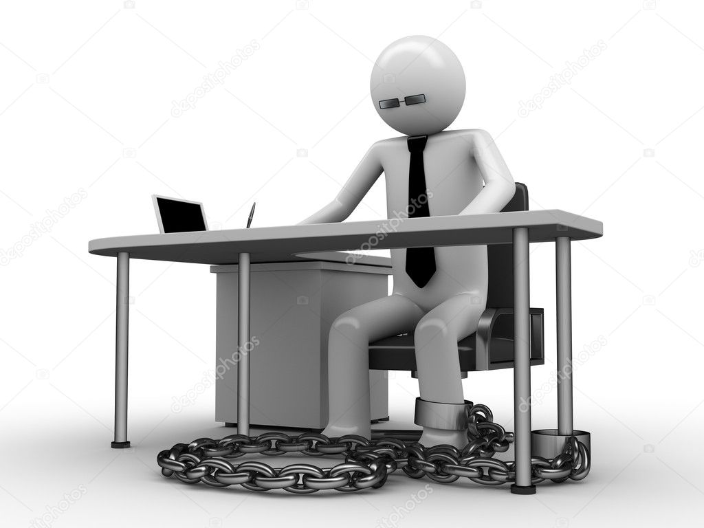 Man chained with office table (workplace) 3 — Stock Photo #1874108