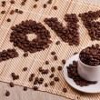 Word love laid out from coffee — Stock Photo