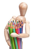 Toy with color pencil — Stock Photo