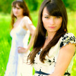Two girls in white dresses — Stock Photo
