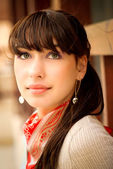 Portrait of girl with dark hair — Stock Photo