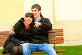 Two beloved on bench — Stock Photo