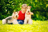 Girl and two fox terriers — Stock Photo