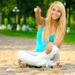 Girl in lotus pose — Stock Photo #1602314