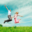 Two enamoured jump — Stock Photo