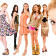 Eight girls - Stock Photo