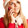 Snow Maiden calls on cellular telephone — Stock Photo