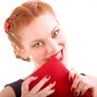 Woman with red book — Stock Photo