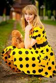 Portrait of girl with teddy bear — Stock Photo