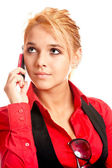 Girl with cellular telephone — Stock Photo