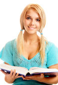 Student with big textbook — Stock Photo