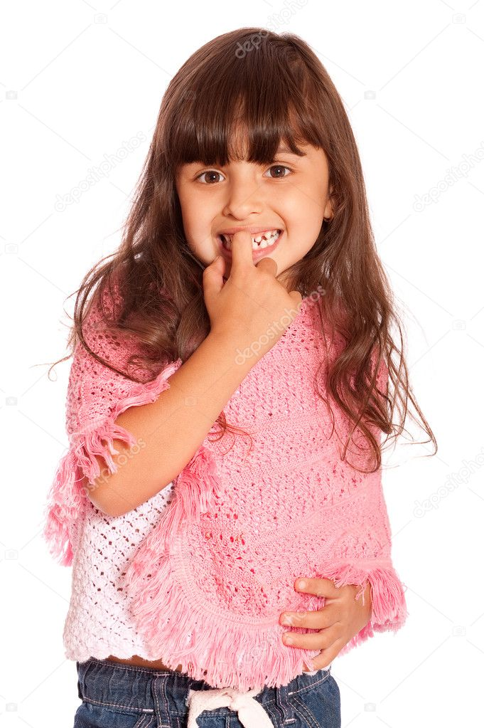 Small girl holds finger in mouth and smiles, it is isolated on white background. — Stock Photo #1609402