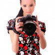 Girl with SLR — Stock Photo #1610655