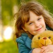 Child with toy bear cub — Foto de Stock