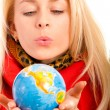 Girl with globe in hands. — Stock Photo