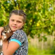 Girl with kitten - Stock Photo