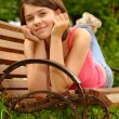 Girl lays on bench — Stock Photo #1611811