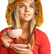 Blonde drinks hot tea — Stock Photo