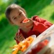 The girl eats a tomato - Stock Photo