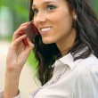 Brunette speaks on cellular telephone - Stock Photo