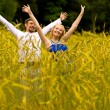Young man and girl on rye field — Stock Photo